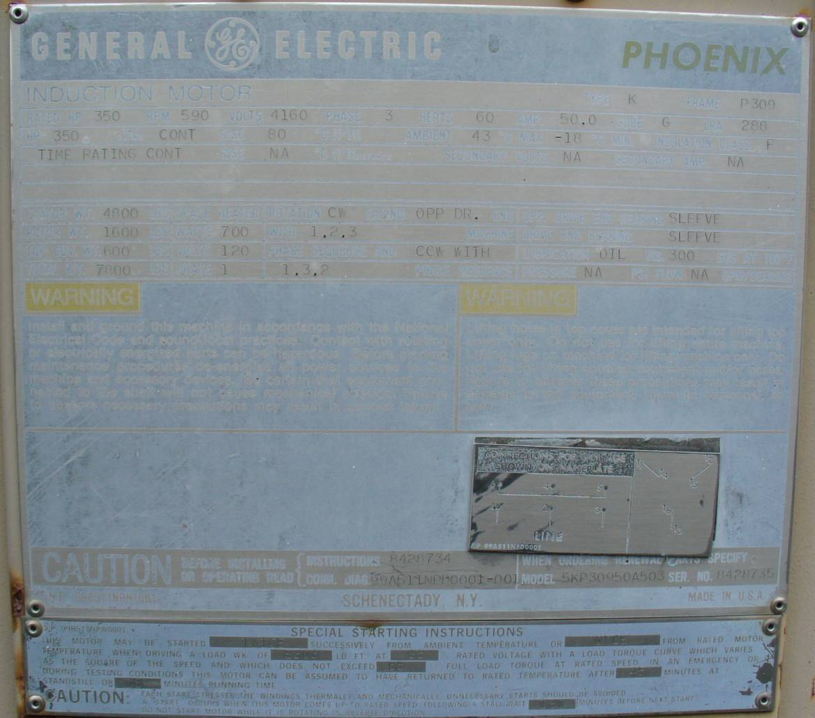 Ac Induction Motor 350hp 590rpm General Electric Pheonix