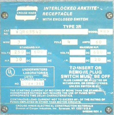 Click to see larger image - Crouse-Hinds 60 Amp WSR63542 Non-Fusible Interlocked Arktite Receptacle