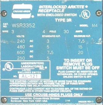 Click to see larger image - Crouse-Hinds 30 Amp WSR3352 Fusible Interlocked Arktite Receptacle