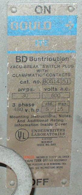 Click to see larger image - Gould 30 Amp ITE Bus Plug