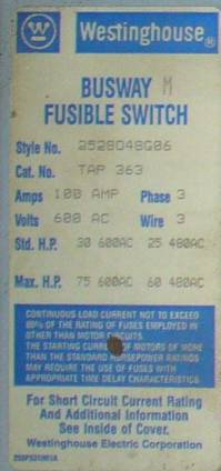 Click to see larger image - Westinghouse 100 Amp Fusible Bus Plug