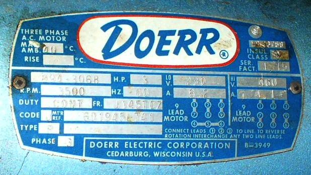 Doerr 9 Lead  3 Hp  Ac Induction Motor