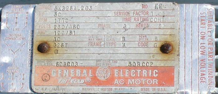 Click to see larger image - General Electric 50 HP 1770 RPM AC Induction Motor