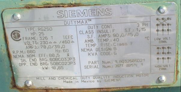 Click to see larger image - Siemens 25 HP 880 RPM AC Induction Motor