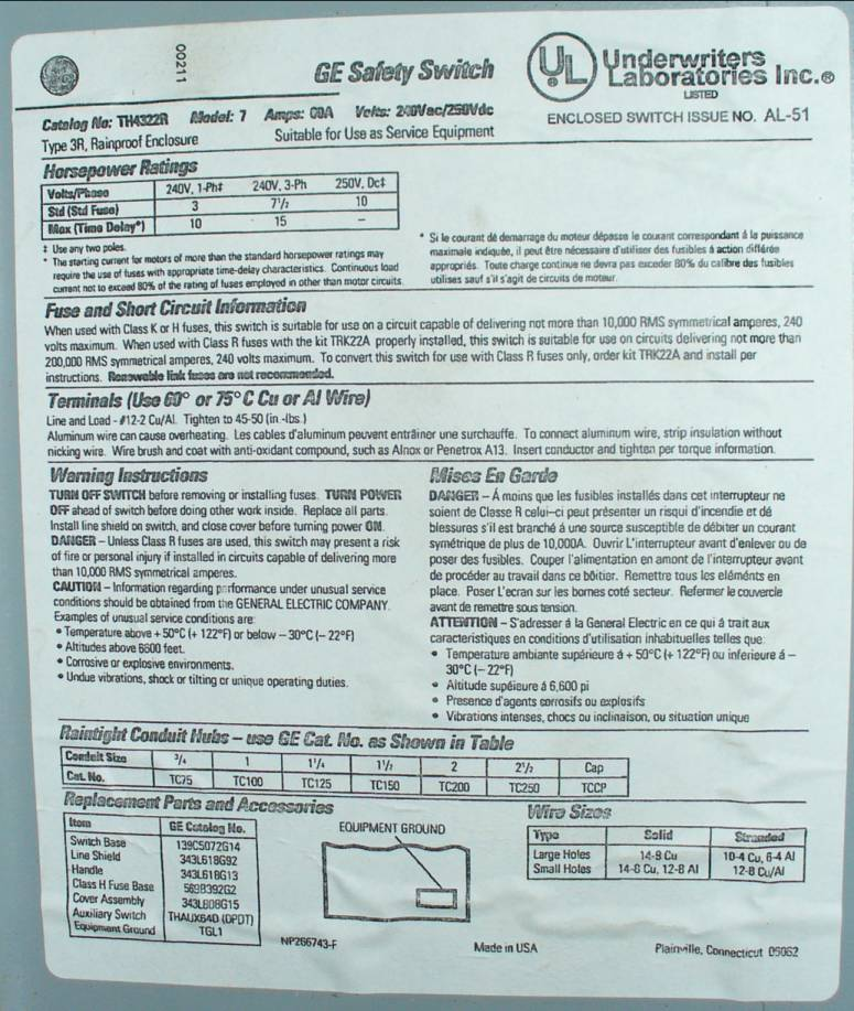 Click to see larger image - General Electric 60 Amp Fusible Safety Disconnect Switch TH4322R
