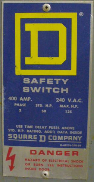 Click to see larger image - Square D 400 Amp Fusible Safety Switch H325N