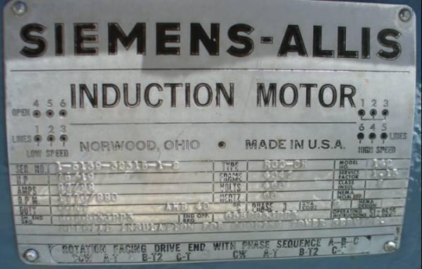 Siemens-Allis 2-Speed AC Induction Motor