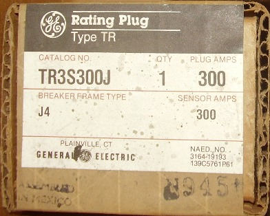 General Electric RMS-9 circuit breaker TR3S300J Rating Plug