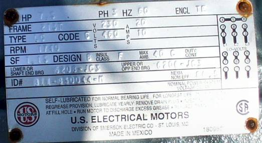 US Electrical Motors AC Induction Motor 7.5HP 1740RPM
