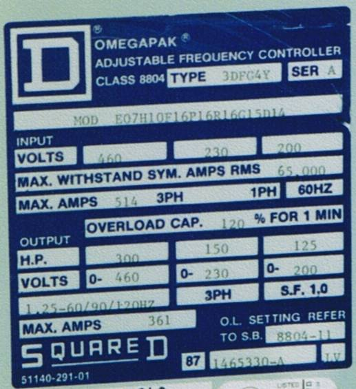 Click to see larger image - Square D OmegaPak Adjustable Frequency Controller, Class 8804, Type 3DFG4Y, 300 HP at 460 Volts