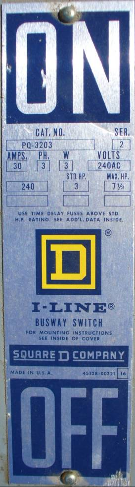 Click to see larger image - Square D 30 Amp I-Line Fusible Bus Plug PQ-3203
