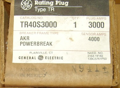 General Electric RMS-9 circuit breaker TR40S3000 Rating Plug