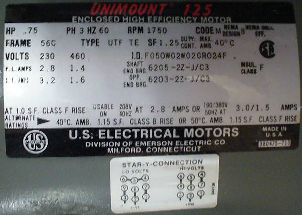 US Electrical Motors AC Induction Motor 0.75HP 1750RPM