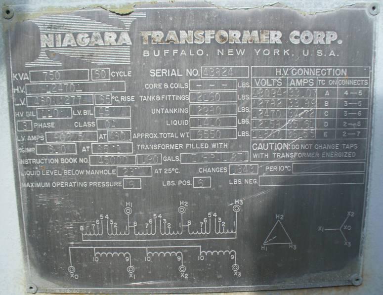 Click to see larger image - Niagara Transformer 750 KVA Substation Oil Filled Transformer
