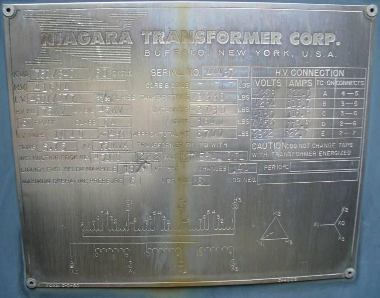 Click to see larger image - Niagara Transformer 750 - 840 KVA Substation Oil Filled Transformer