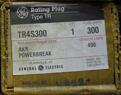 General Electric RMS-9 circuit breaker TR4S300 Rating Plug