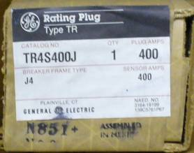 General Electric RMS-9 circuit breaker TR4S400J Rating Plug