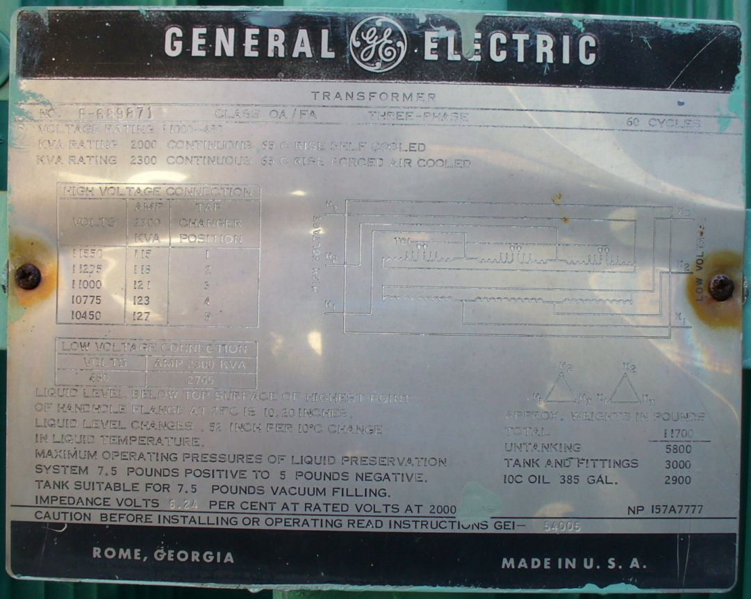 Click to see larger image - General Electric 2000 - 2300 KVA Substation Transformer