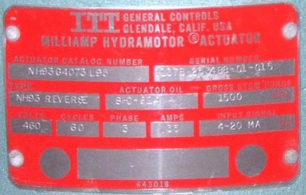 Click to see larger image - ITT Milliamp Hydramotor Actuator NH93G4073L95