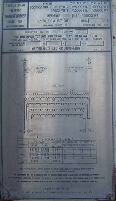 Click to see larger image - Westinghouse 455/509.6 MVA Single Phase Nuclear Substation Transformer