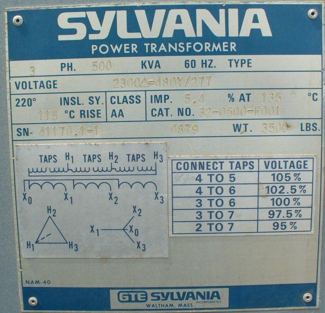 Hertz 800 Number >> 500 KVA transformer with 800 amp breaker switchgear