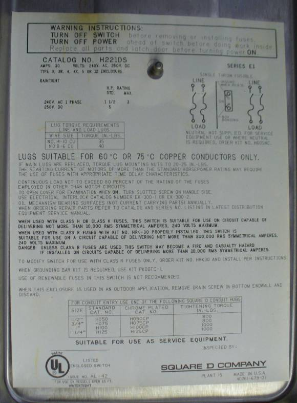 Click to see larger image - Square D 30 Amp Fusible Safety Switch H221DS