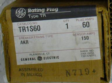 Click to see larger image - General Electric RMS-9 circuit breaker TR1S60 Rating Plug