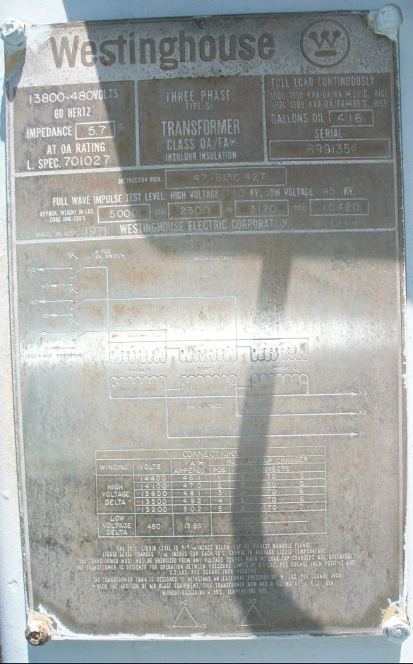 Click to see larger image - Westinghouse 1000 - 1288 KVA Substation Oil Filled Transformer