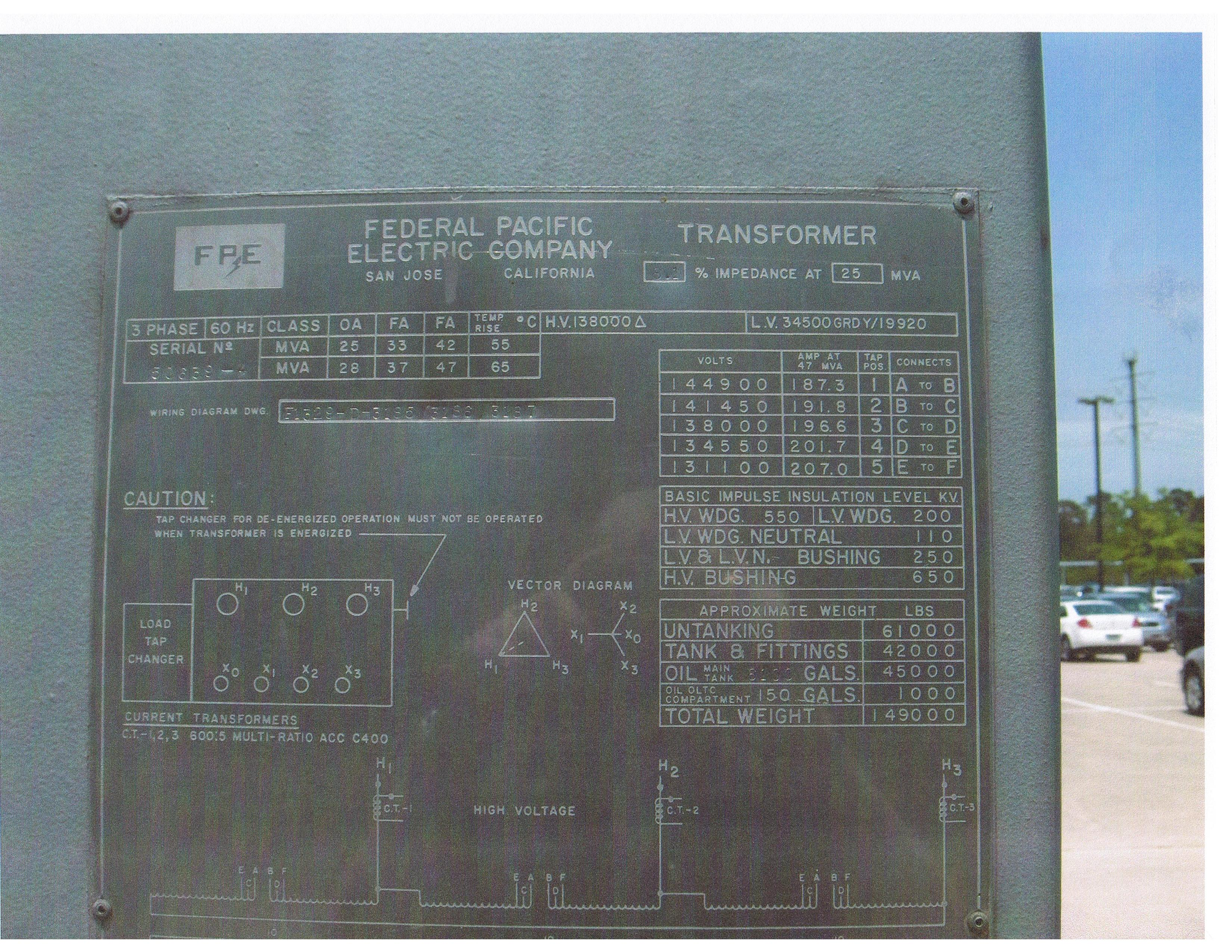 Click to see larger image - Federal Pacific Electric FPE 25 / 33 / 47 MVA Load-Tap Changing Substation Transformer