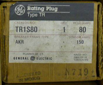 Click to see larger image - General Electric RMS-9 circuit breaker TR1S80 Rating Plug