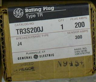 General Electric RMS-9 circuit breaker TR3S200J Rating Plug