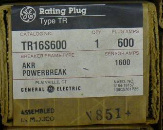 Click to see larger image - General Electric RMS-9 circuit breaker TR16S600 Rating Plug