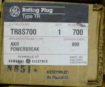 General Electric RMS-9 circuit breaker TR8S700 Rating Plug