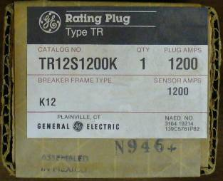 Click to see larger image - General Electric RMS-9 circuit breaker TR12S1200K Rating Plug