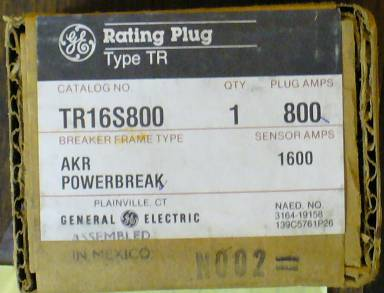 Click to see larger image - General Electric RMS-9 circuit breaker TR16S800 Rating Plug