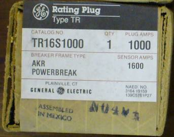 General Electric RMS-9 circuit breaker TR16S1000 Rating Plug
