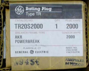 General Electric RMS-9 circuit breaker TR20S2000 Rating Plug
