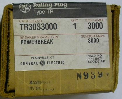 General Electric RMS-9 circuit breaker TR30S3000 Rating Plug