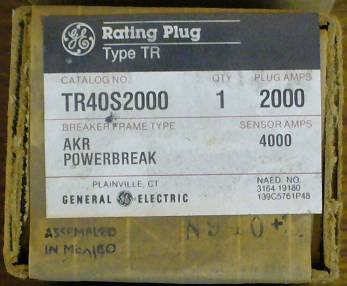 General Electric RMS-9 circuit breaker TR40S2000 Rating Plug