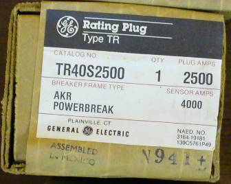 General Electric RMS-9 circuit breaker TR40S2500 Rating Plug