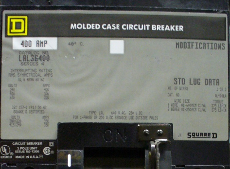 40 Amp Wire Size >> Molded Case 400A 600V Circuit Breaker LAL36400