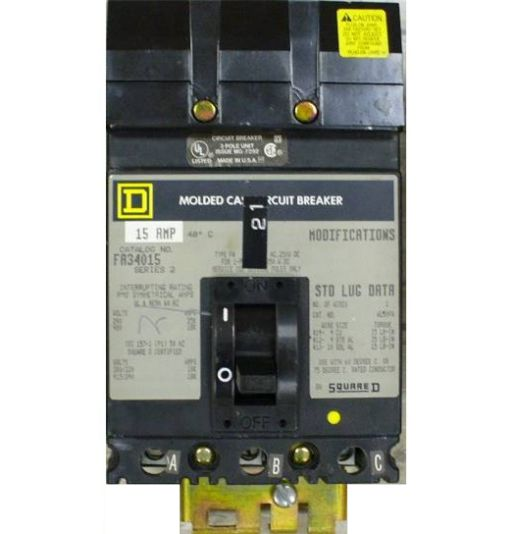 Square D 15 Amp 480 VAC Molded Case Circuit Breaker FA34015