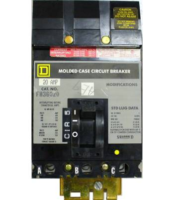 Square D 20 Amp 600 VAC Molded Case Circuit Breaker FH36020