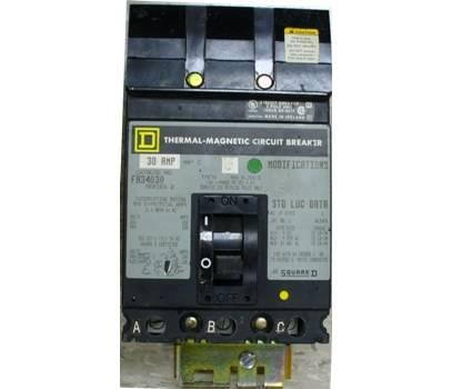 Square D 30 Amp 480 VAC Molded Case Circuit Breaker FA34030