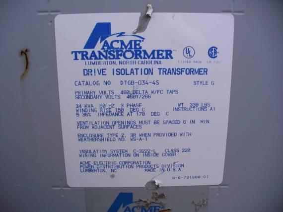 Acme 34KVA 3-Phase Dry Type Drive Isolation Transformer