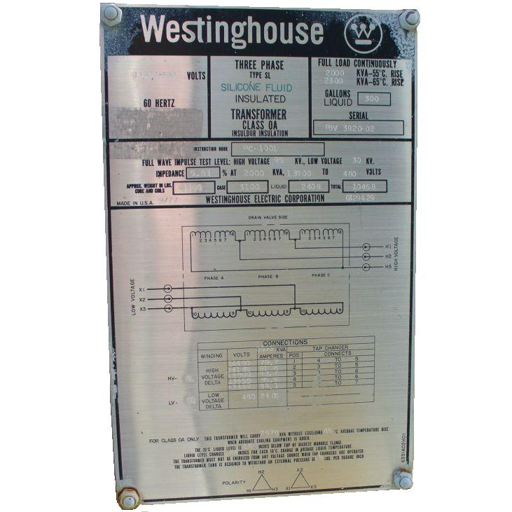 Click to see larger image - Westinghouse 2000 - 2576 KVA Silicone Fluid Insulated Transformer